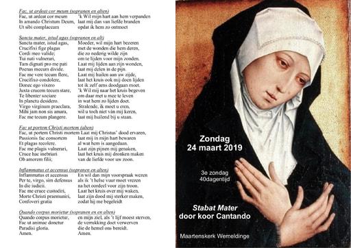 Liturgie 24 maart 2019 Stabat Mater