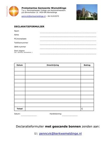 Declaratieformulier PG Wemeldinge