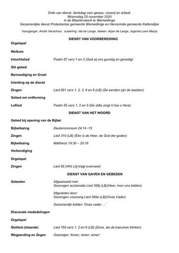 Orde van dienst Dankdag 25 november 2020