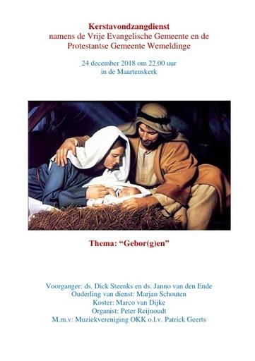 Liturgie Kerstavondzangdienst 2018